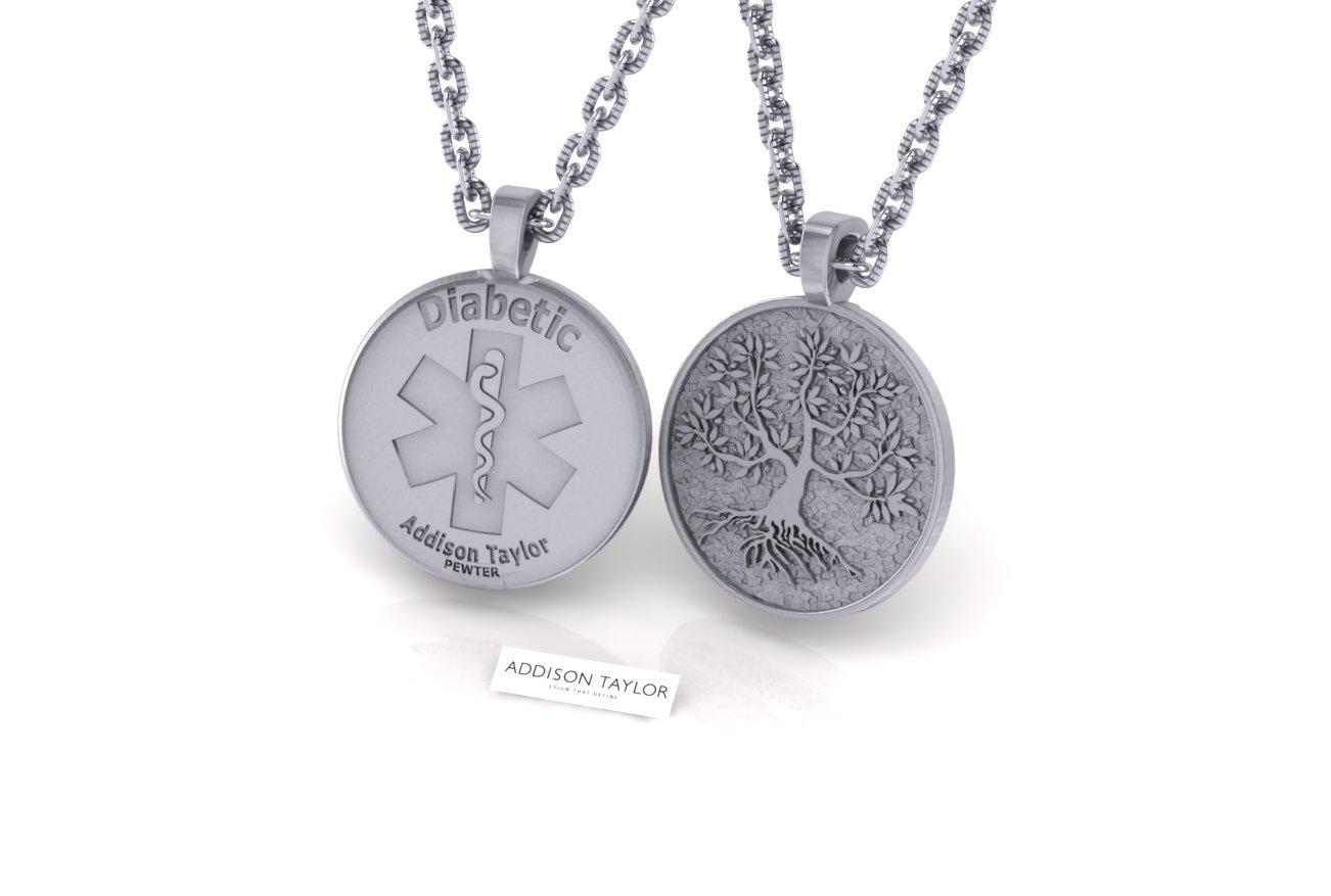 Sterling silver jdrf tree of life pendant with diabetic medical alert home pendant necklace sterling silver jdrf tree of life pendant with diabetic medical alert aloadofball Images
